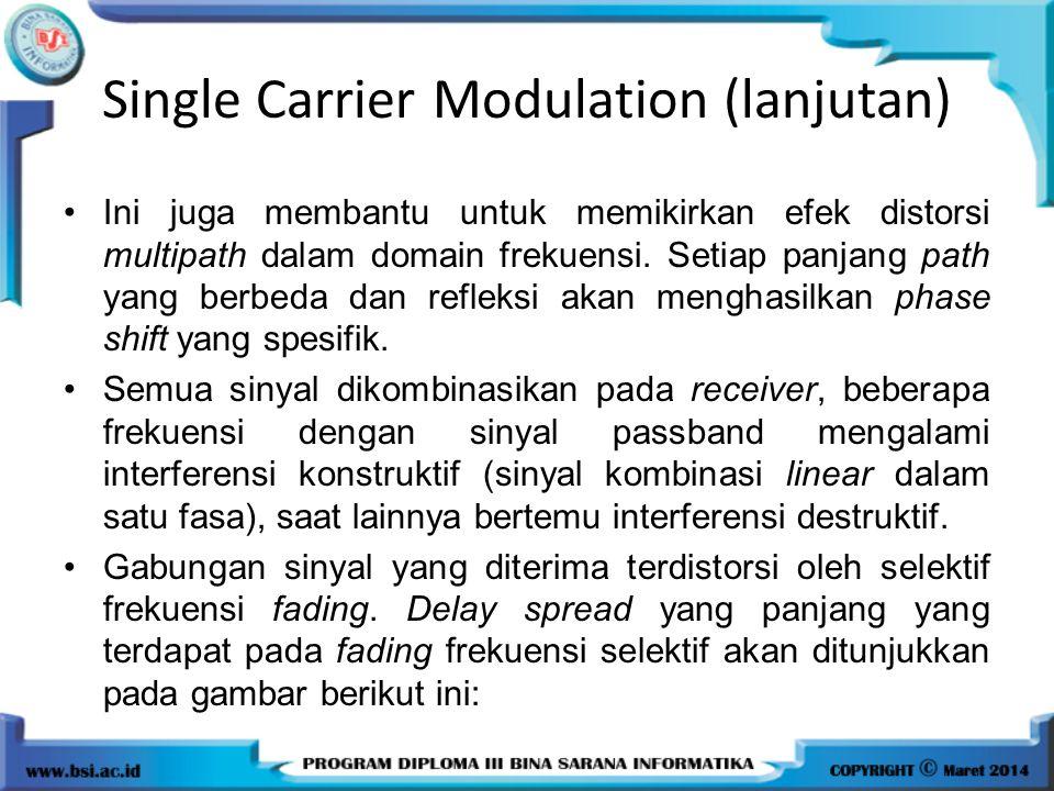 Single Carrier Modulation (lanjutan) Ini juga membantu untuk memikirkan efek distorsi multipath dalam domain frekuensi. Setiap panjang path yang berbe