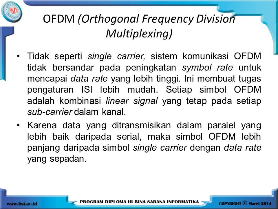 OFDM (Orthogonal Frequency Division Multiplexing) Tidak seperti single carrier, sistem komunikasi OFDM tidak bersandar pada peningkatan symbol rate un