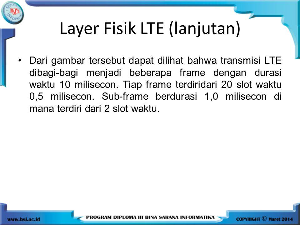 Dari gambar tersebut dapat dilihat bahwa transmisi LTE dibagi-bagi menjadi beberapa frame dengan durasi waktu 10 milisecon. Tiap frame terdiridari 20