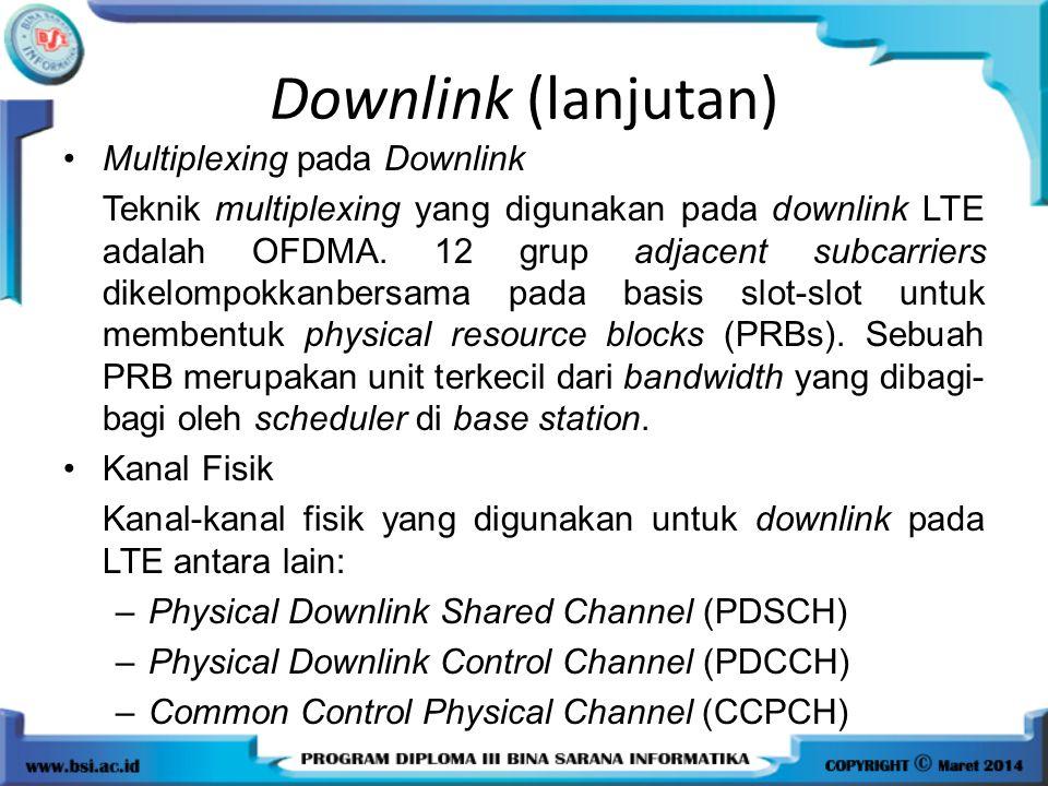 Downlink (lanjutan) Multiplexing pada Downlink Teknik multiplexing yang digunakan pada downlink LTE adalah OFDMA. 12 grup adjacent subcarriers dikelom