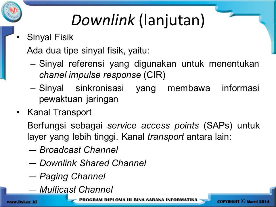 Downlink (lanjutan) Sinyal Fisik Ada dua tipe sinyal fisik, yaitu: –Sinyal referensi yang digunakan untuk menentukan chanel impulse response (CIR) –Si