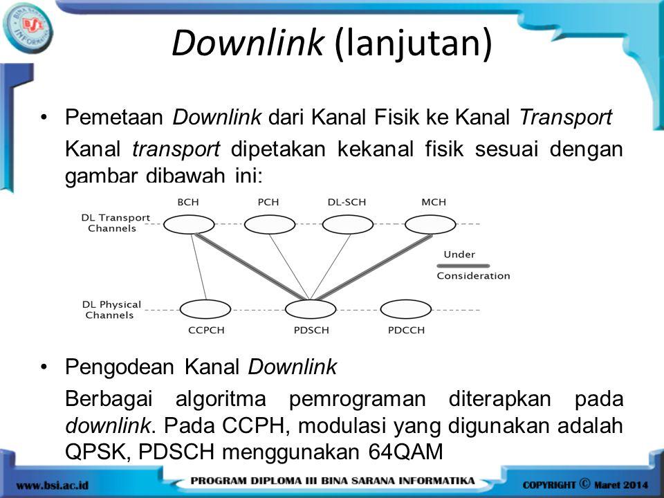 Downlink (lanjutan) Pemetaan Downlink dari Kanal Fisik ke Kanal Transport Kanal transport dipetakan kekanal fisik sesuai dengan gambar dibawah ini: Pe