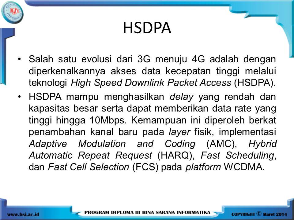 HSDPA Salah satu evolusi dari 3G menuju 4G adalah dengan diperkenalkannya akses data kecepatan tinggi melalui teknologi High Speed Downlink Packet Acc