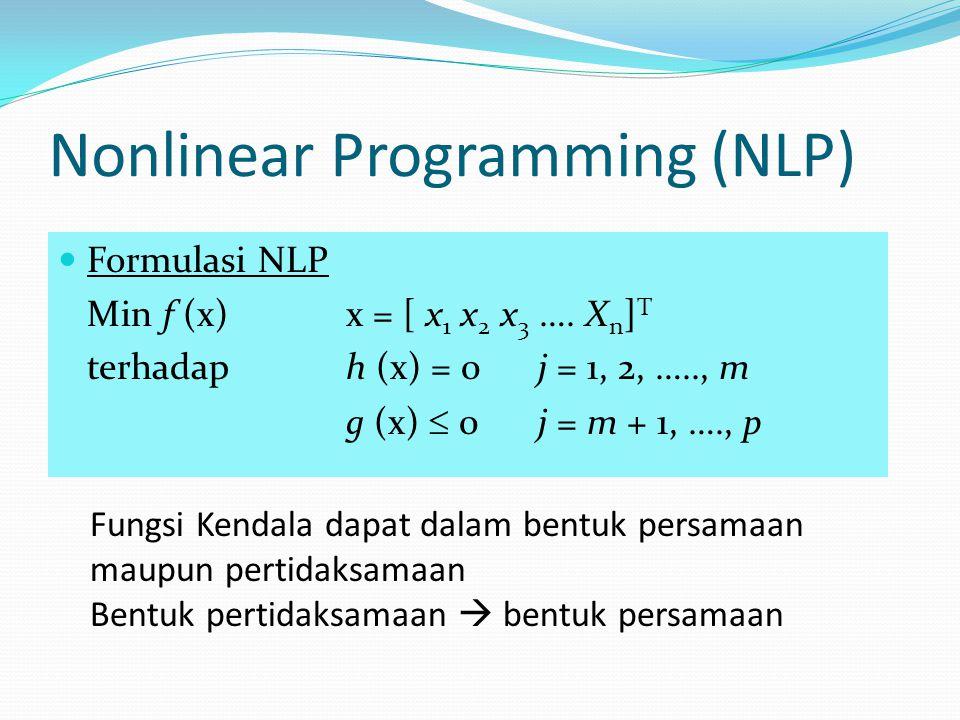 Nonlinear Programming (NLP) Formulasi NLP Min f (x)x = [ x 1 x 2 x 3 ….