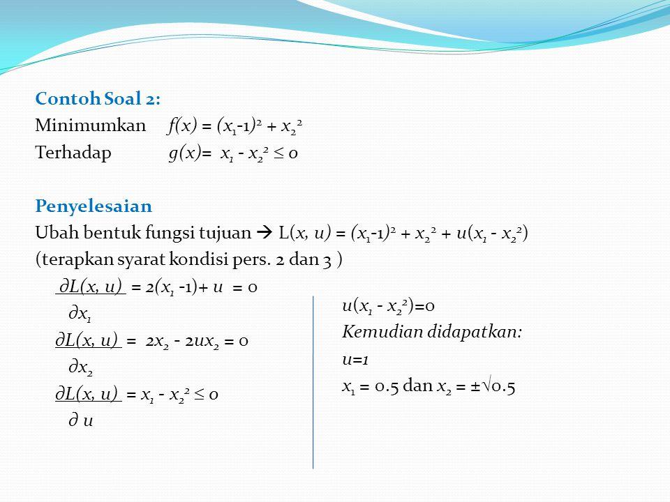 Contoh Soal 2: Minimumkan f(x) = (x 1 -1) 2 + x 2 2 Terhadapg(x)= x 1 - x 2 2  0 Penyelesaian Ubah bentuk fungsi tujuan  L(x, u) = (x 1 -1) 2 + x 2 2 + u(x 1 - x 2 2 ) (terapkan syarat kondisi pers.
