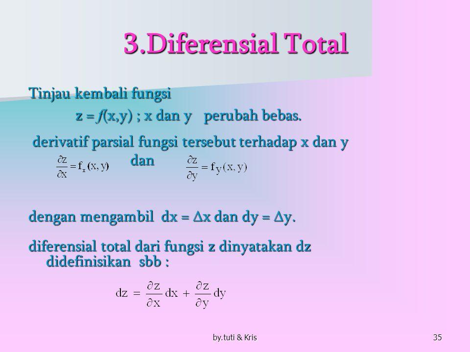 by.tuti & Kris35 3.Diferensial Total Tinjau kembali fungsi z = f (x,y) ; x dan y perubah bebas. derivatif parsial fungsi tersebut terhadap x dan y der