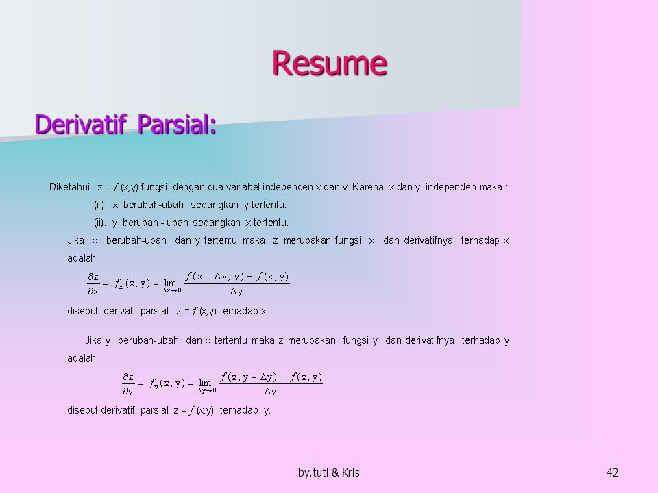 by.tuti & Kris42 Resume Derivatif Parsial: