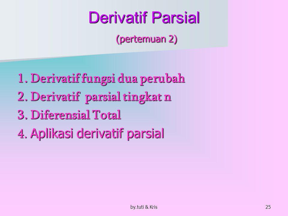 by.tuti & Kris26 1.Derivatif Fungsi dua Perubah Derivatif Parsial.