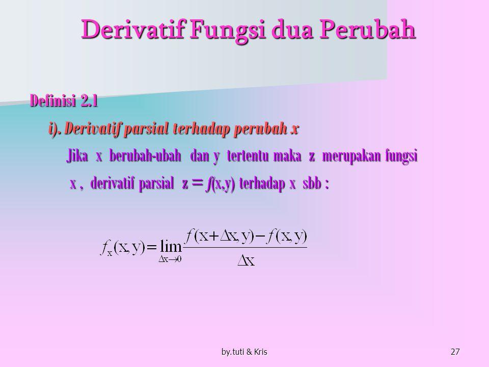 by.tuti & Kris27 Derivatif Fungsi dua Perubah Derivatif Fungsi dua Perubah Definisi 2.1 i). Derivatif parsial terhadap perubah x Jika x berubah-ubah d