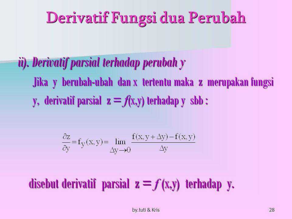 by.tuti & Kris28 Derivatif Fungsi dua Perubah ii). Derivatif parsial terhadap perubah y Jika y berubah-ubah dan x tertentu maka z merupakan fungsi Jik