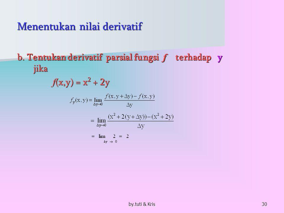 by.tuti & Kris30 Menentukan nilai derivatif b. Tentukan derivatif parsial fungsi f terhadap y jika f (x,y) = x 2 + 2y f (x,y) = x 2 + 2y