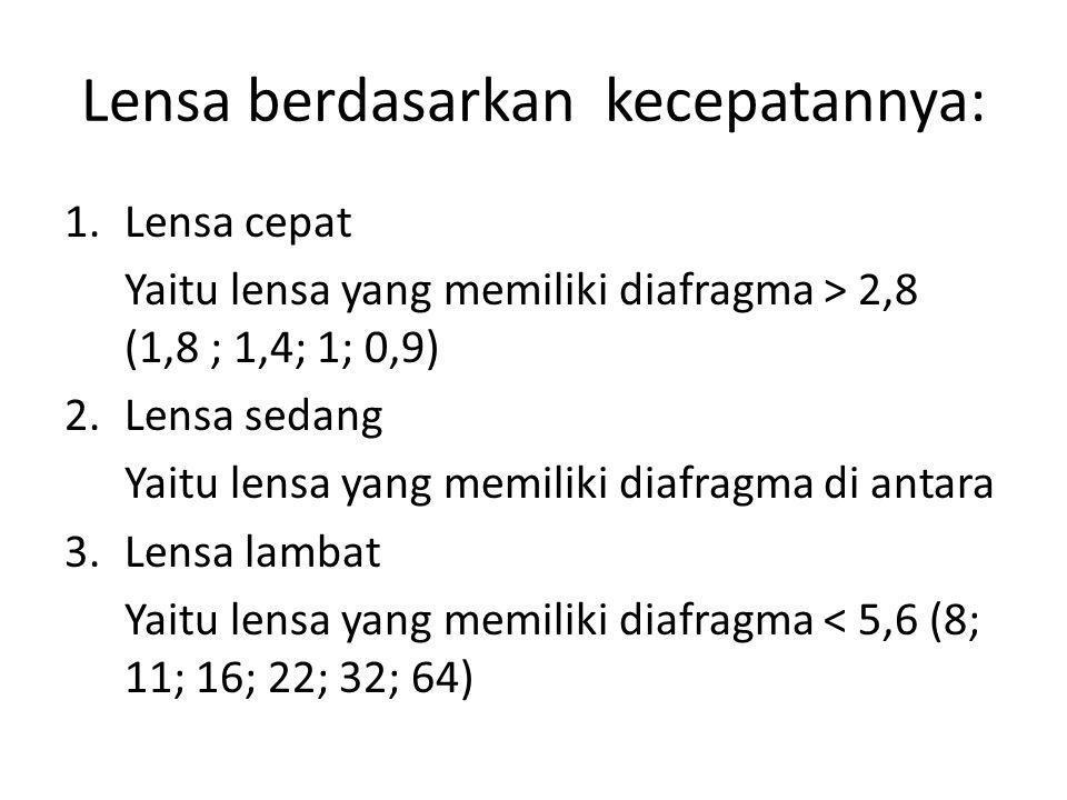 Lensa berdasarkan kecepatannya: 1.Lensa cepat Yaitu lensa yang memiliki diafragma > 2,8 (1,8 ; 1,4; 1; 0,9) 2.Lensa sedang Yaitu lensa yang memiliki d