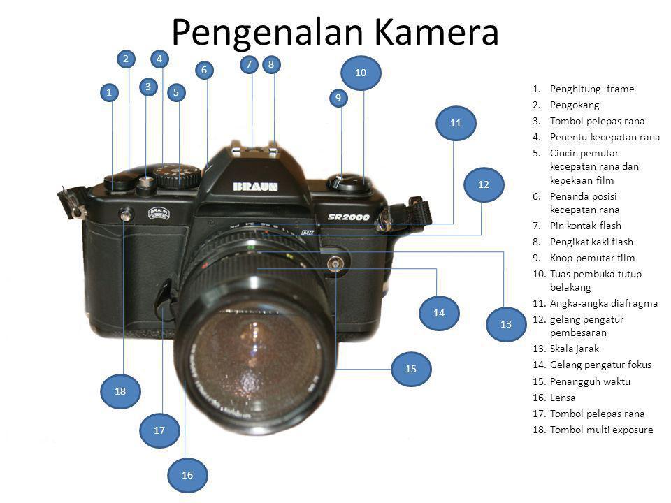 Pengenalan Kamera 1 2 3 4 5 6 78 9 12 13 15 16 17 18 11 14 1.Penghitung frame 2.Pengokang 3.Tombol pelepas rana 4.Penentu kecepatan rana 5.Cincin pemu