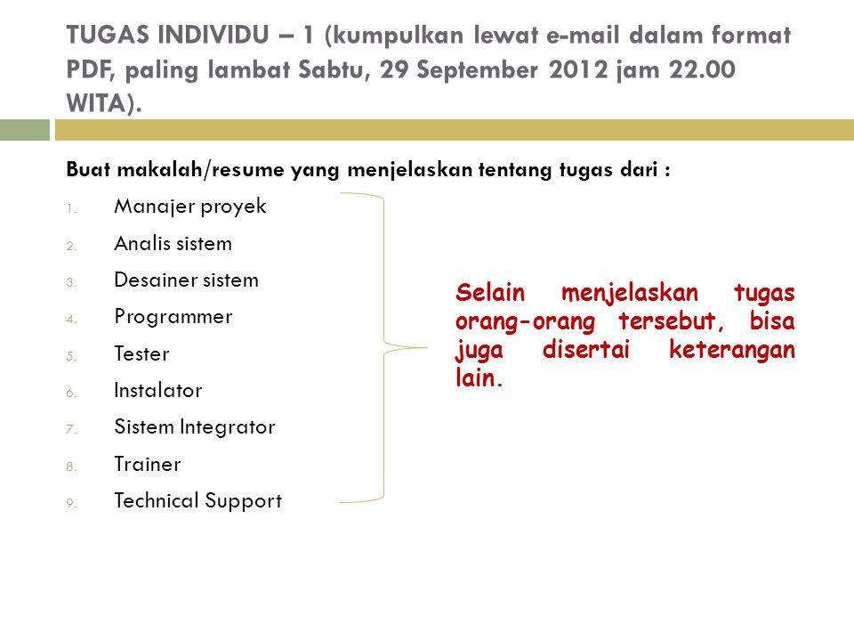 TUGAS INDIVIDU – 1 (kumpulkan lewat e-mail dalam format PDF, paling lambat Sabtu, 29 September 2012 jam 22.00 WITA).