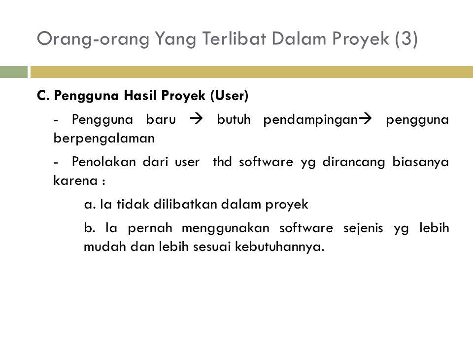 Orang-orang Yang Terlibat Dalam Proyek (3) C. Pengguna Hasil Proyek (User) - Pengguna baru  butuh pendampingan  pengguna berpengalaman - Penolakan d
