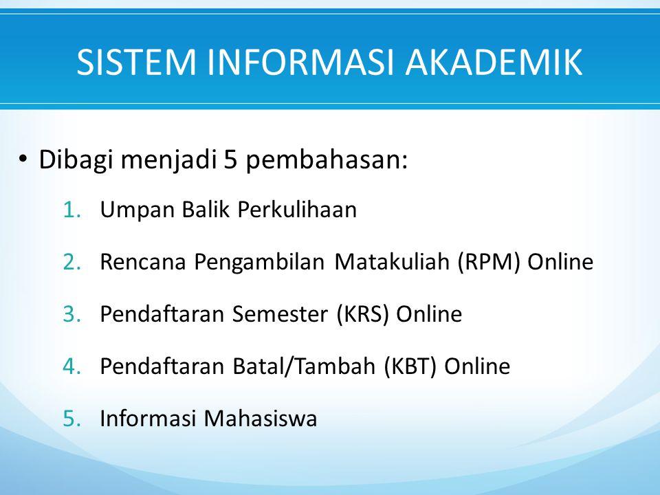SISTEM INFORMASI AKADEMIK Dibagi menjadi 5 pembahasan: 1.Umpan Balik Perkulihaan 2.Rencana Pengambilan Matakuliah (RPM) Online 3.Pendaftaran Semester (KRS) Online 4.Pendaftaran Batal/Tambah (KBT) Online 5.Informasi Mahasiswa