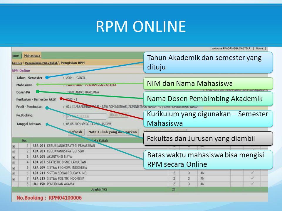 Tahun Akademik dan semester yang dituju Nama Dosen Pembimbing Akademik Fakultas dan Jurusan yang diambil NIM dan Nama Mahasiswa Kurikulum yang digunakan – Semester Mahasiswa Batas waktu mahasiswa bisa mengisi RPM secara Online RPM ONLINE