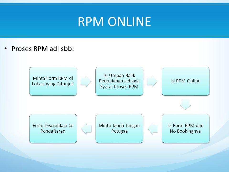 Proses RPM adl sbb: RPM ONLINE Minta Form RPM di Lokasi yang Ditunjuk Isi Umpan Balik Perkuliahan sebagai Syarat Proses RPM Isi RPM Online Isi Form RPM dan No Bookingnya Minta Tanda Tangan Petugas Form Diserahkan ke Pendaftaran