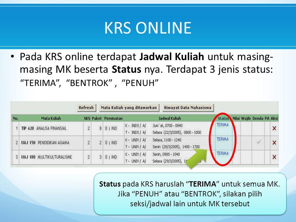 Pada KRS online terdapat Jadwal Kuliah untuk masing- masing MK beserta Status nya.