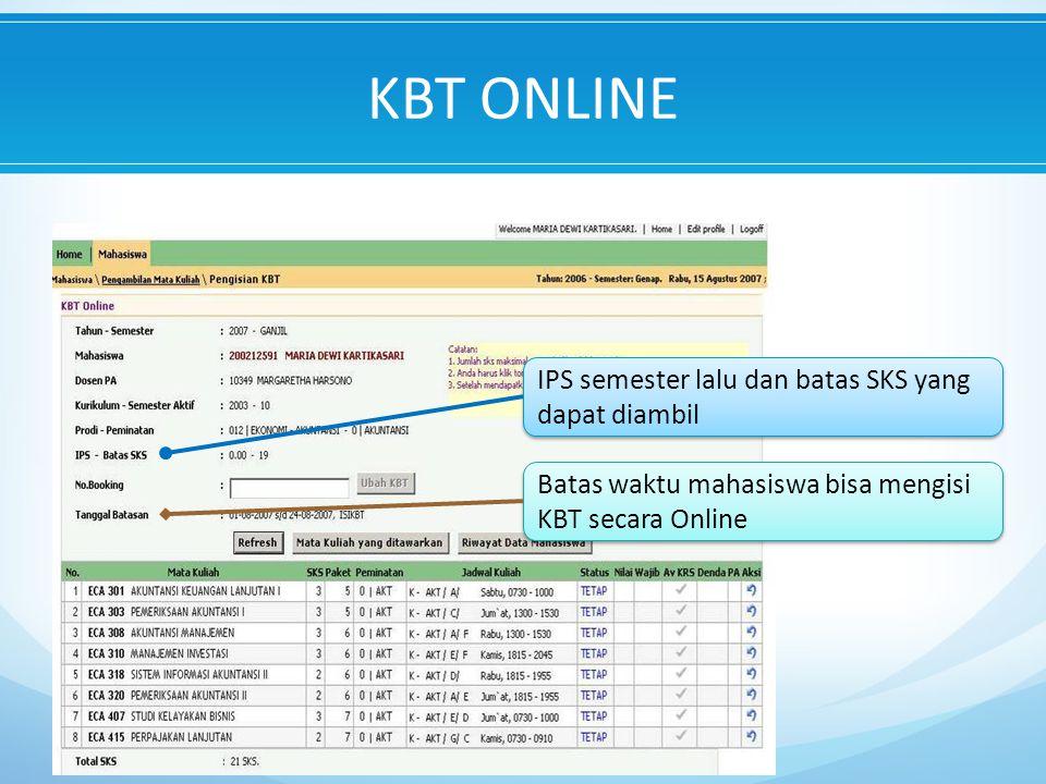 IPS semester lalu dan batas SKS yang dapat diambil Batas waktu mahasiswa bisa mengisi KBT secara Online KBT ONLINE