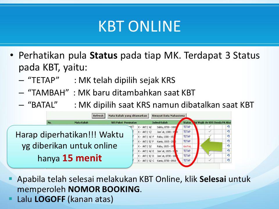 Perhatikan pula Status pada tiap MK.
