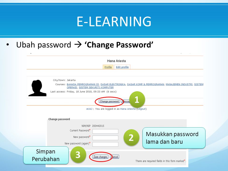 E-LEARNING Ubah password  'Change Password' 1 1 2 2 Masukkan password lama dan baru 3 3 Simpan Perubahan
