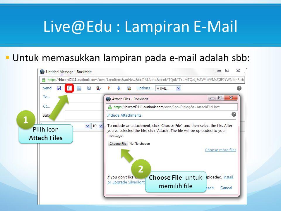 Live@Edu : Lampiran E-Mail  Untuk memasukkan lampiran pada e-mail adalah sbb: Choose File untuk memilih file 2 2 Pilih icon Attach Files Pilih icon Attach Files 1 1