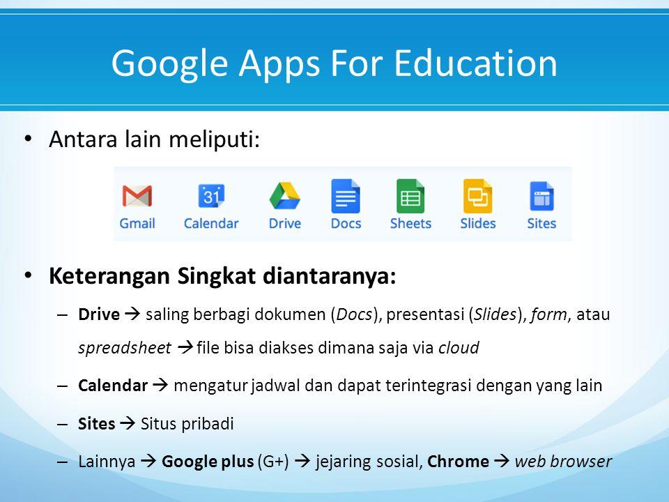 Google Apps For Education Antara lain meliputi: Keterangan Singkat diantaranya: – Drive  saling berbagi dokumen (Docs), presentasi (Slides), form, atau spreadsheet  file bisa diakses dimana saja via cloud – Calendar  mengatur jadwal dan dapat terintegrasi dengan yang lain – Sites  Situs pribadi – Lainnya  Google plus (G+)  jejaring sosial, Chrome  web browser
