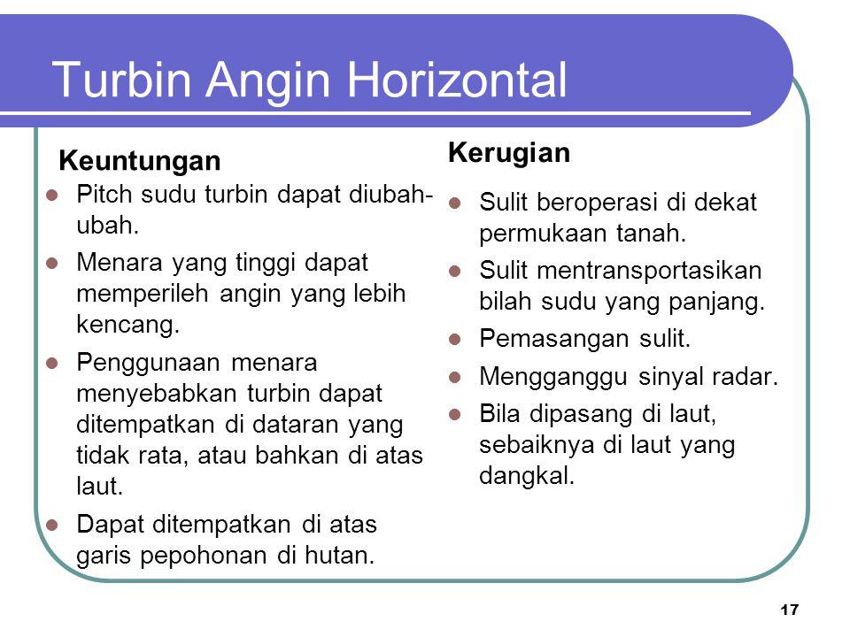 Turbin Angin Horizontal Keuntungan Pitch sudu turbin dapat diubah- ubah. Menara yang tinggi dapat memperileh angin yang lebih kencang. Penggunaan mena