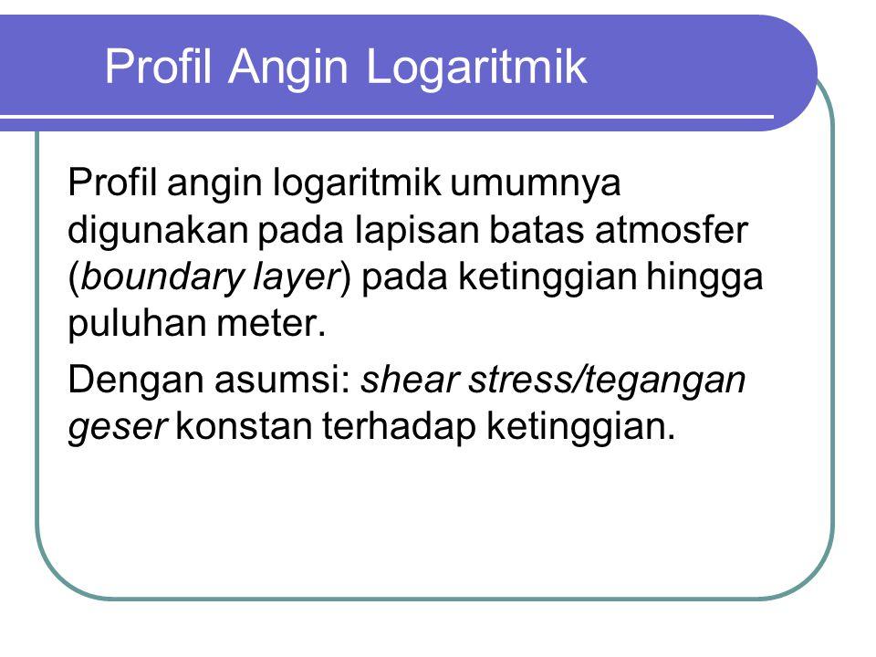 Profil Angin Logaritmik Profil angin logaritmik umumnya digunakan pada lapisan batas atmosfer (boundary layer) pada ketinggian hingga puluhan meter.