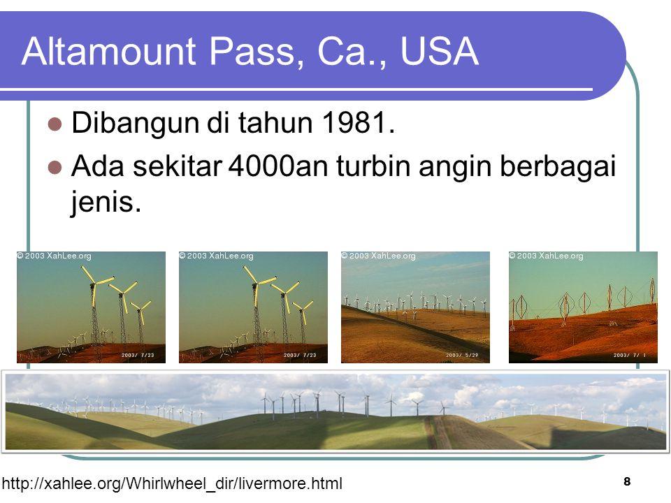 Altamount Pass, Ca., USA Dibangun di tahun 1981. Ada sekitar 4000an turbin angin berbagai jenis. 8 http://xahlee.org/Whirlwheel_dir/livermore.html