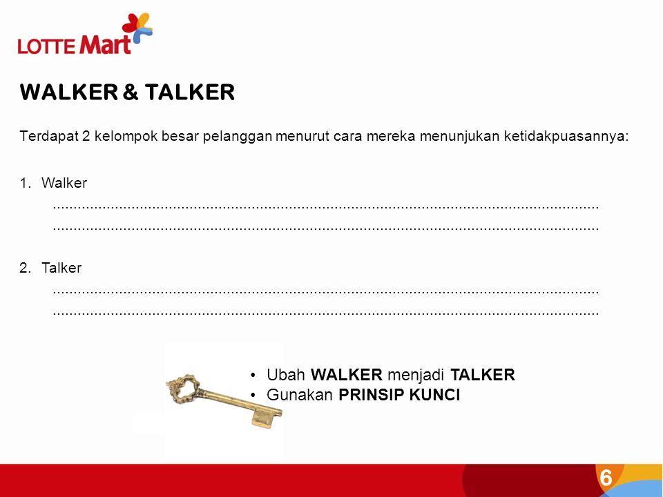 6 Terdapat 2 kelompok besar pelanggan menurut cara mereka menunjukan ketidakpuasannya: WALKER & TALKER 1.Walker.......................................