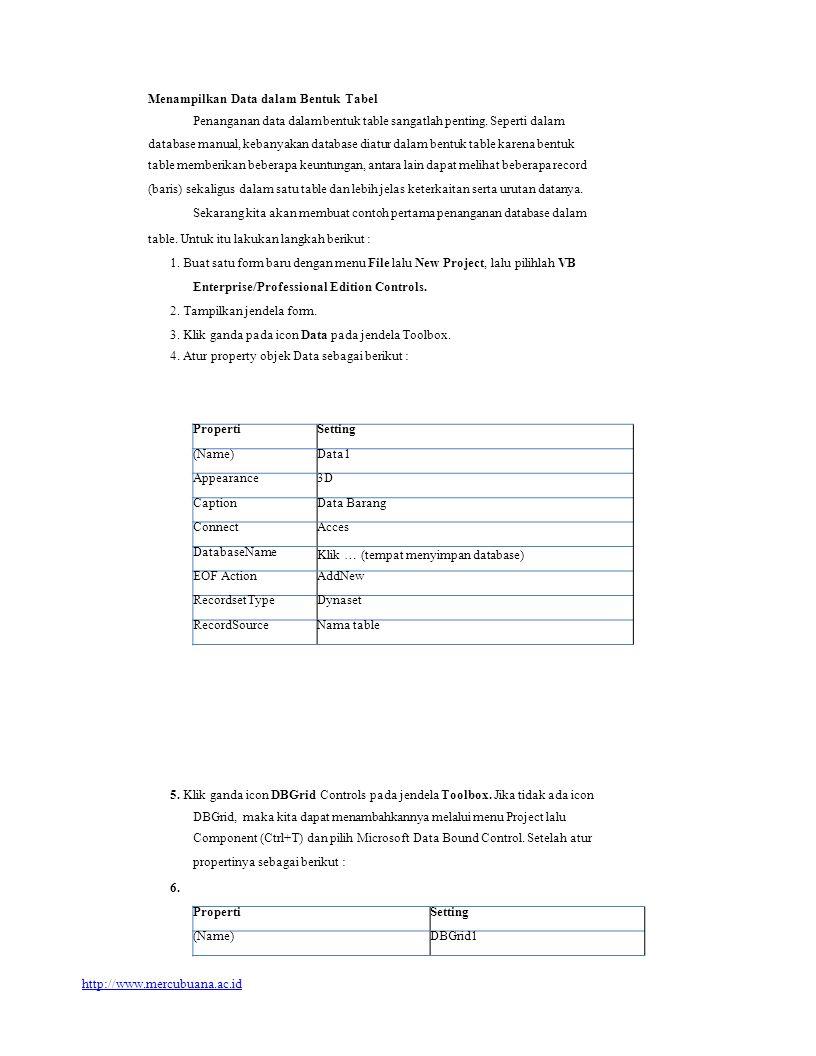 PropertiSetting (Name)Data1 Appearance3D CaptionData Barang ConnectAcces DatabaseName Klik … (tempat menyimpan database) EOF ActionAddNew RecordsetTyp