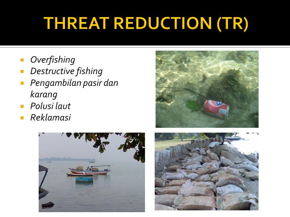  Overfishing  Destructive fishing  Pengambilan pasir dan karang  Polusi laut  Reklamasi