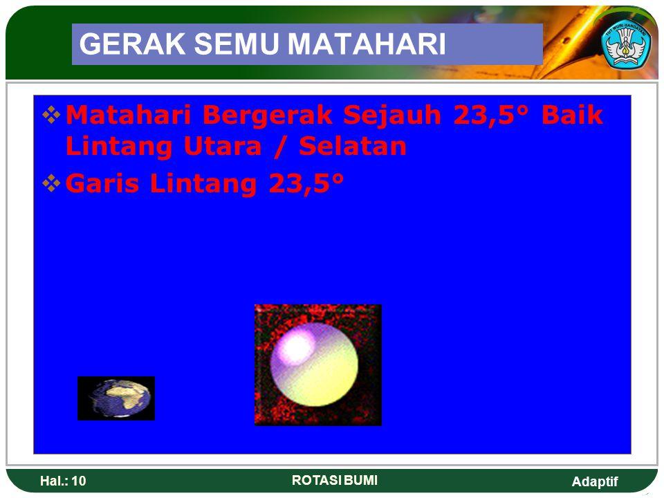 Adaptif Hal.: 10 ROTASI BUMI GERAK SEMU MATAHARI  Matahari Bergerak Sejauh 23,5° Baik Lintang Utara / Selatan  Garis Lintang 23,5°