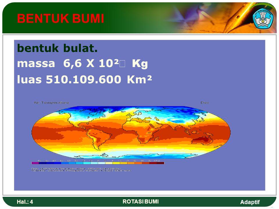 Adaptif Hal.: 4 ROTASI BUMI BENTUK BUMI bentuk bulat. massa 6,6 X 10² Kg luas 510.109.600 Km²