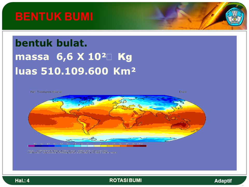 Adaptif Hal.: 5 ROTASI BUMI perputaran bumi mengitari porosnya