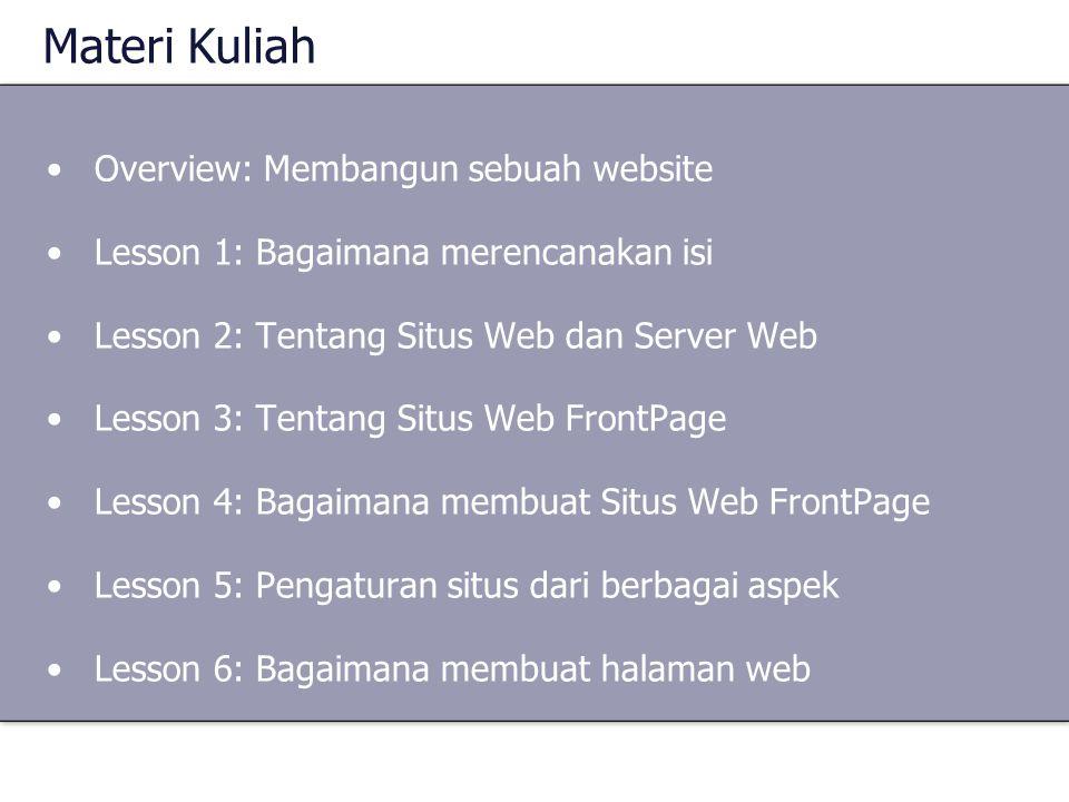Materi Kuliah Overview: Membangun sebuah website Lesson 1: Bagaimana merencanakan isi Lesson 2: Tentang Situs Web dan Server Web Lesson 3: Tentang Sit