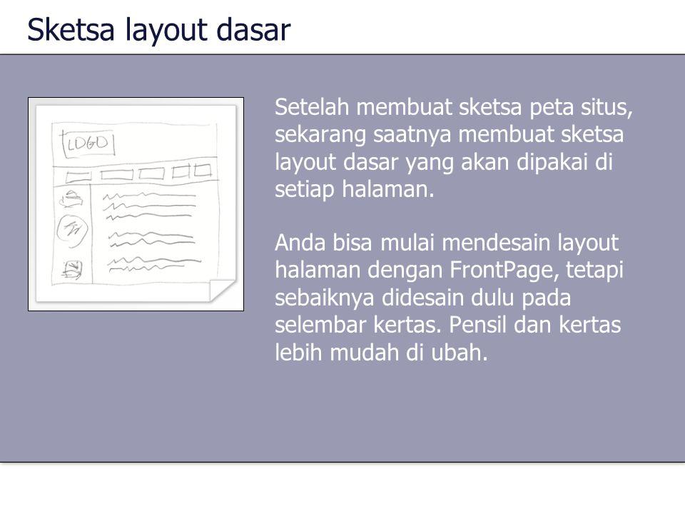Sketsa layout dasar Setelah membuat sketsa peta situs, sekarang saatnya membuat sketsa layout dasar yang akan dipakai di setiap halaman. Anda bisa mul