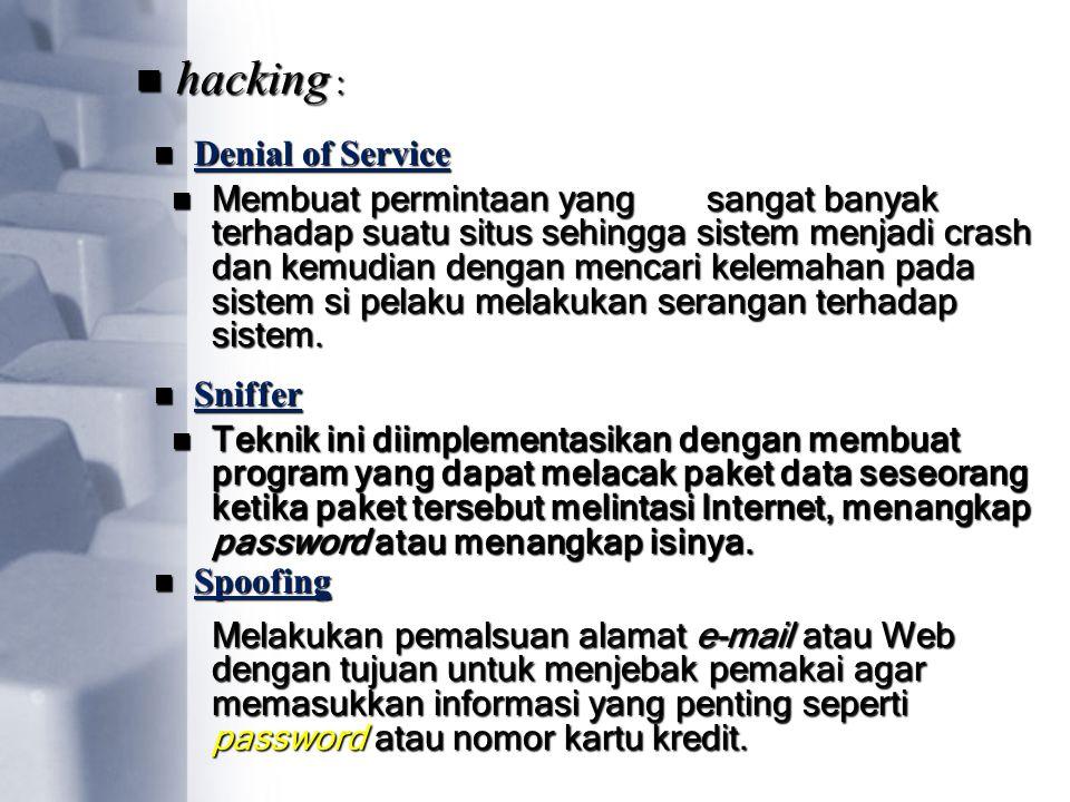 Denial of Service hacking : Membuat permintaan yangsangat banyak terhadap suatu situs sehingga sistem menjadi crash dan kemudian dengan mencari kelema