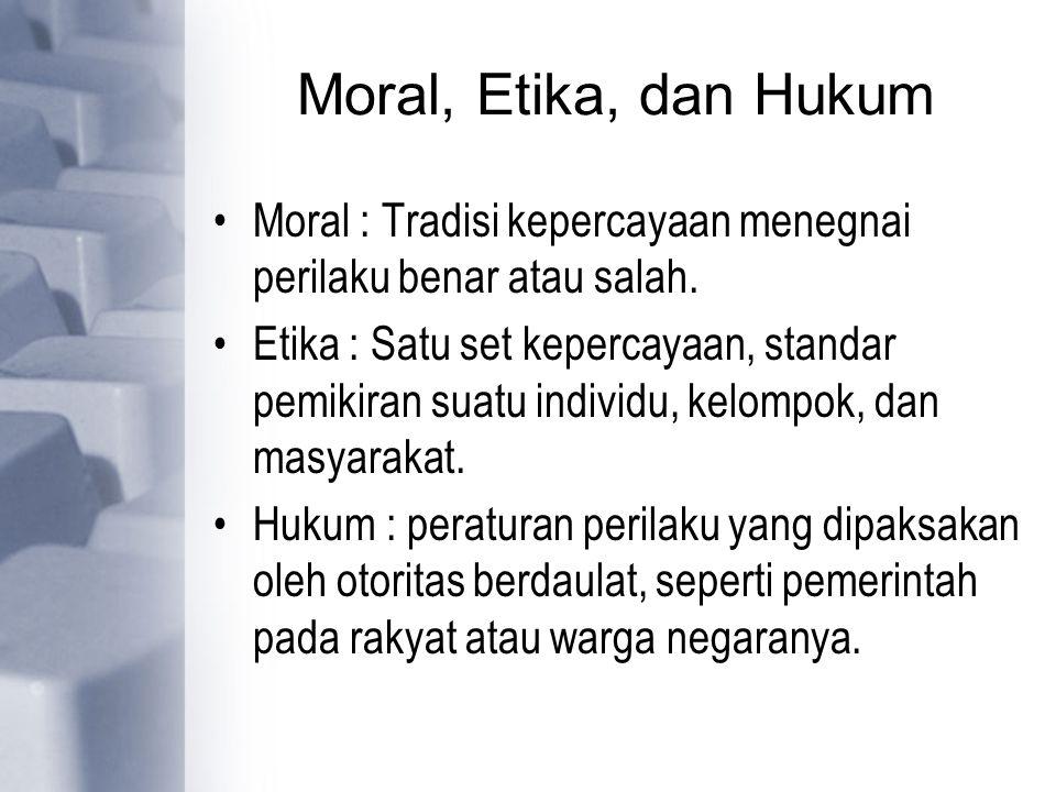 Moral, Etika, dan Hukum Moral : Tradisi kepercayaan menegnai perilaku benar atau salah. Etika : Satu set kepercayaan, standar pemikiran suatu individu