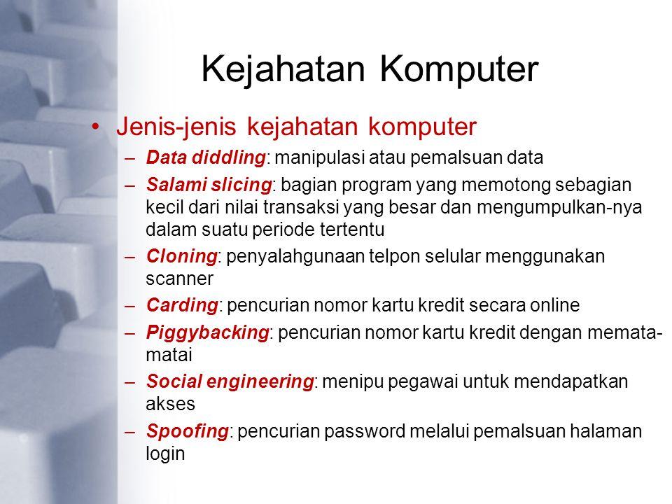 Kejahatan Komputer Jenis-jenis kejahatan komputer –Data diddling: manipulasi atau pemalsuan data –Salami slicing: bagian program yang memotong sebagia