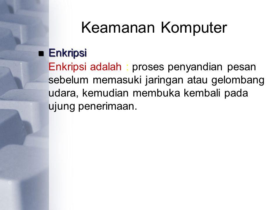 Keamanan Komputer Enkripsi adalah : proses penyandian pesan sebelum memasuki jaringan atau gelombang udara, kemudian membuka kembali pada ujung peneri