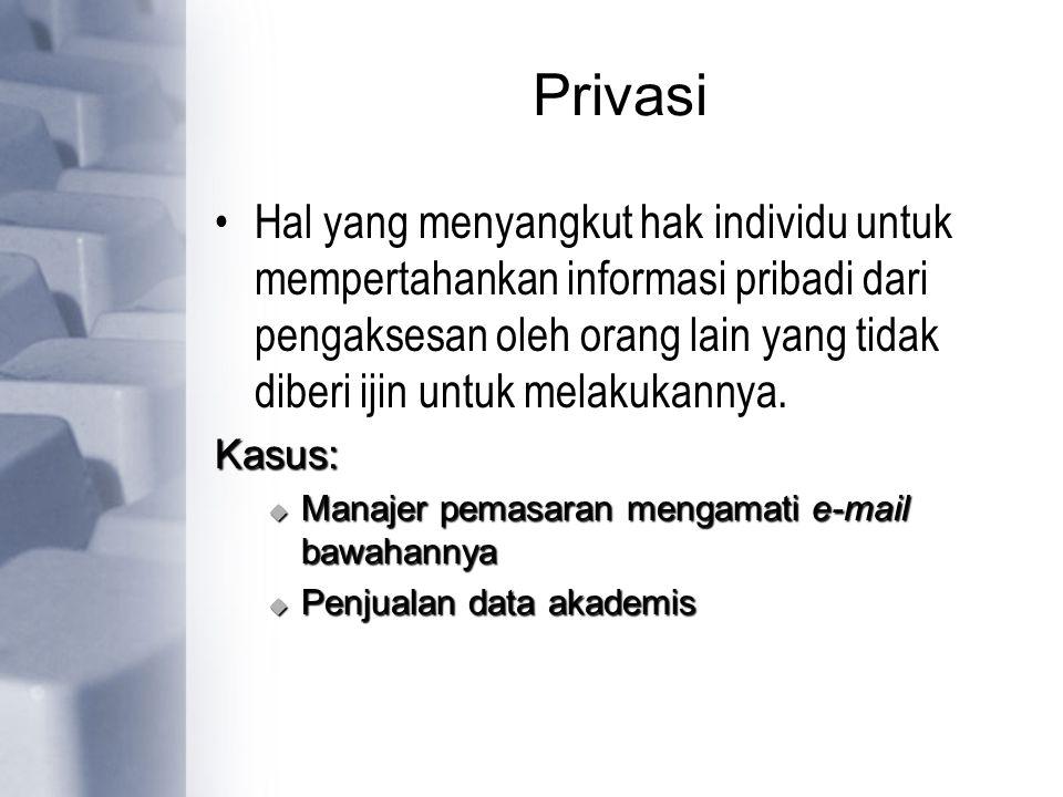 Privasi Hal yang menyangkut hak individu untuk mempertahankan informasi pribadi dari pengaksesan oleh orang lain yang tidak diberi ijin untuk melakuka