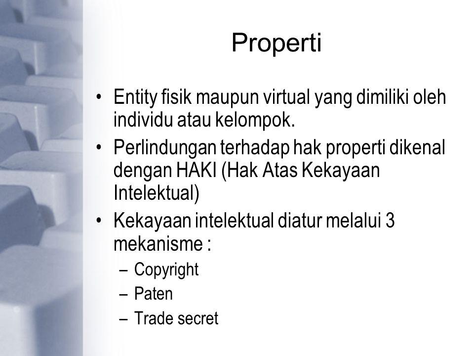 Properti Entity fisik maupun virtual yang dimiliki oleh individu atau kelompok. Perlindungan terhadap hak properti dikenal dengan HAKI (Hak Atas Kekay