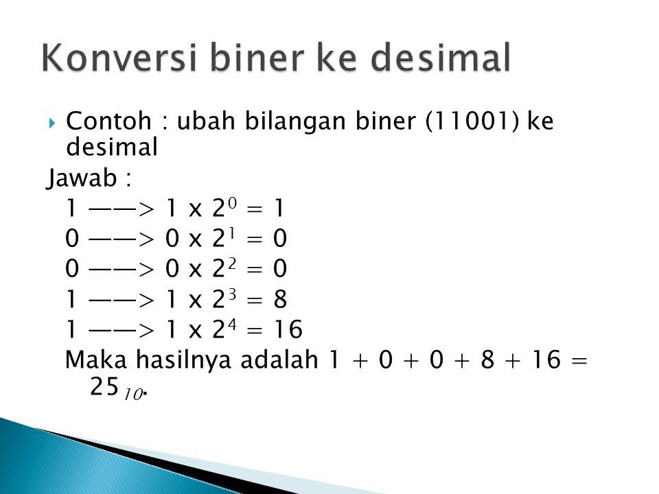 Contoh : ubah bilangan biner (11001) ke desimal Jawab : 1 ——> 1 x 2 0 = 1 0 ——> 0 x 2 1 = 0 0 ——> 0 x 2 2 = 0 1 ——> 1 x 2 3 = 8 1 ——> 1 x 2 4 = 16 Maka hasilnya adalah 1 + 0 + 0 + 8 + 16 = 25 10.