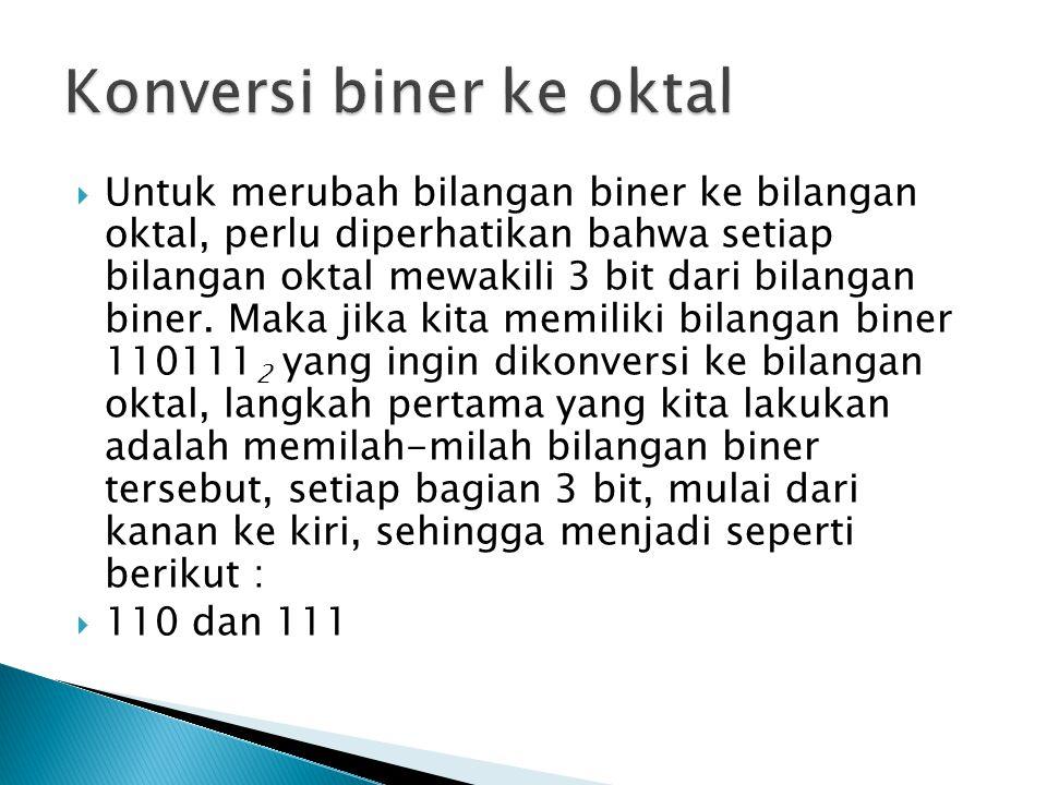  Untuk merubah bilangan biner ke bilangan oktal, perlu diperhatikan bahwa setiap bilangan oktal mewakili 3 bit dari bilangan biner.