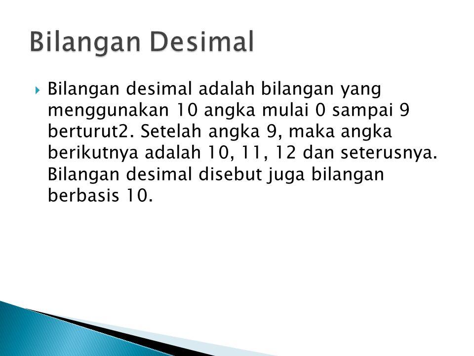  Bilangan desimal adalah bilangan yang menggunakan 10 angka mulai 0 sampai 9 berturut2.