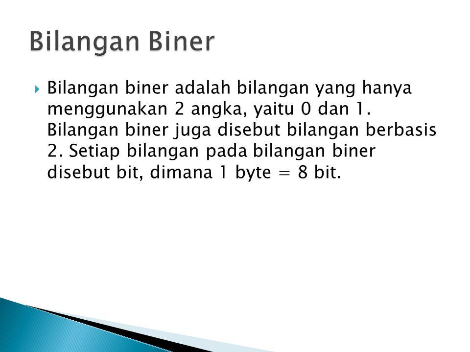  Bilangan biner adalah bilangan yang hanya menggunakan 2 angka, yaitu 0 dan 1.