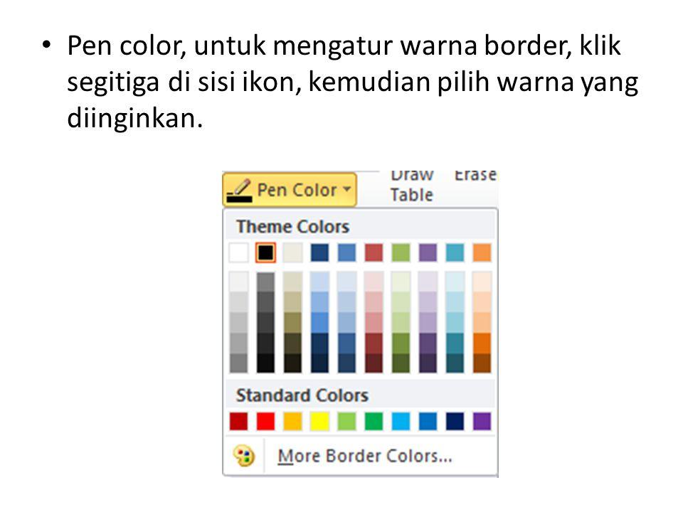 Pen color, untuk mengatur warna border, klik segitiga di sisi ikon, kemudian pilih warna yang diinginkan.